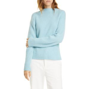 VINCE Ribbed Mock Neck Wool Cashmere Sweater NEW